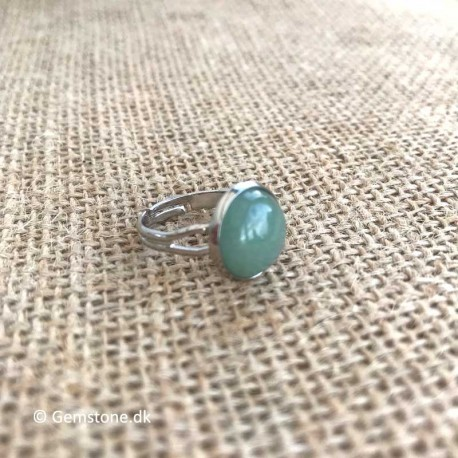 Aventurine Green Ring Stainless Steel Adjustable Size