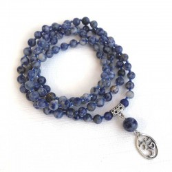 Mala 108 Blue Sodalite Beads Prayer Necklace