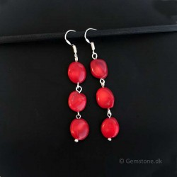Red Sea Coral Silver Earrings