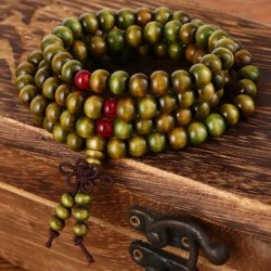 Mala Necklace 108 Green Sandalwood Beads 8mm