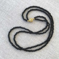 Black Agate Necklace Faceted Beads & Magnetic Clasp