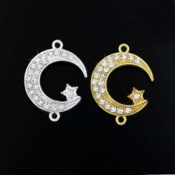 Moon-Star Charm Connector Pendants Silver Gold Color Jewelry Making DIY