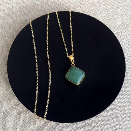 Green Aventurine Pendant & 18K Gold Plated Necklace