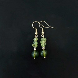 Green Peridot Earrings Gold Plated