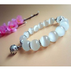 Natural Cats Eye White Bracelet 10mm Beads