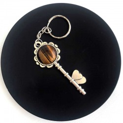 Silver Key with Tiger Eye Gemstone Keyring