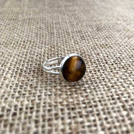 Tiger Eye Ring Silver Plated Brass Adjustable Size