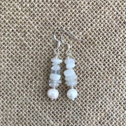 Moonstone Freshwater Pearl Earrings Silver Hooks