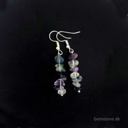 Fluorite Crystal Earrings Silver Plated Handmade
