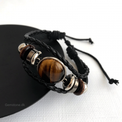 Mens Bracelet Leather / Tiger Eye Gemstone / Steel