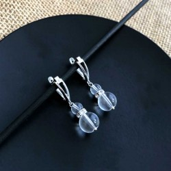 Rock Quartz Crystal Rhinestone Earrings 925 Silver leverbacks