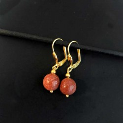 Goldstone Earrings Gold Plated Leverbacks