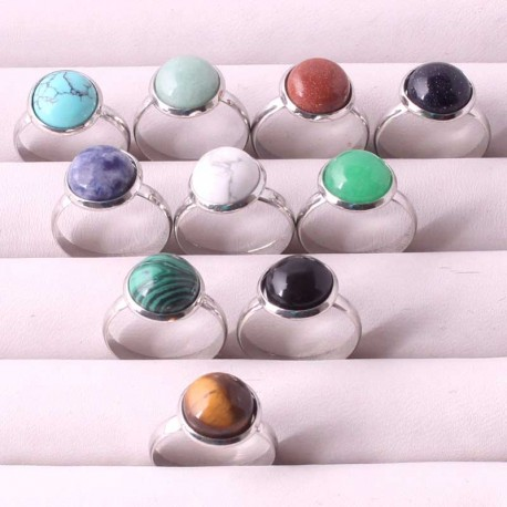 Ring Round Natural Stone 14mm Adjustable Size