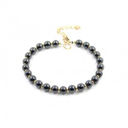 Magnetic Hematite Bracelet Clasp 6mm Beads Adjustable Size