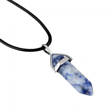 Sodalite Pendant / Leather Necklace
