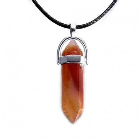 Agate Red Pendant / Leather Necklace