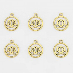 Lotus Charms Antique Gold DIY Yoga jewelry