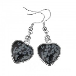 Earrings Obsidian Snowflake Gemstone Heart