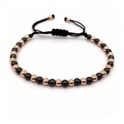 Golden Hematite / Black Agate Bracelet 4mm beads Braided Cord