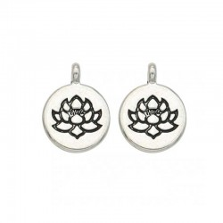 Lotus Charms Silver Round Pendants DIY Yoga jewelry