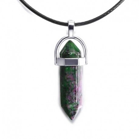 Ruby Zoisite Pendant / Leather Necklace