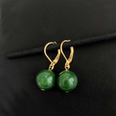 Earrings Nephrite Jade Dark Green Gemstone 12mm