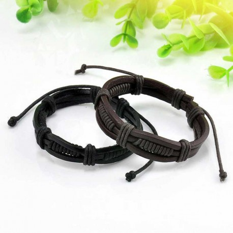 Mens Multilayered Bracelet Leather / Crystal / Metal Spacers