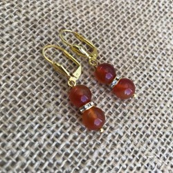 Carnelian Earrings Rhinestone Gold Plated Leverbacks