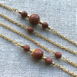 Goldstone Necklace Doble Gold Chain 70cm long