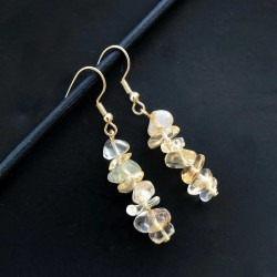 Earrings Citrine Crystal Gemstone Earrings Gold Plated