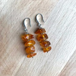 Amber Earrings Silver Natural Baltic Amber