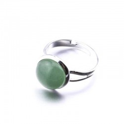 Aventurine Green Ring Silver Plated Brass Adjustable Size