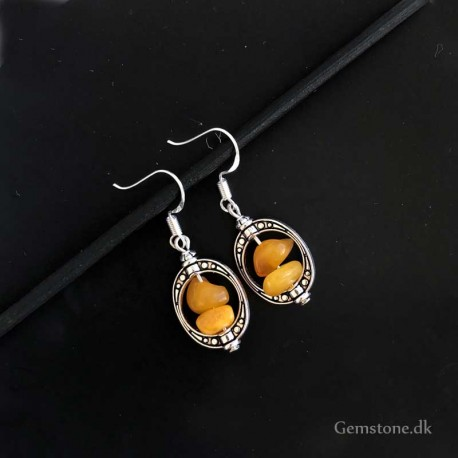 Amber Earrings Vintage Silver Natural Baltic Amber
