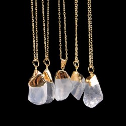 Rock Crystal Pendant / Gold Plated Necklace