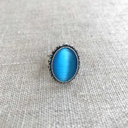 Blue Cats Eye Ring Silver Plated Vintage Adjustable Size