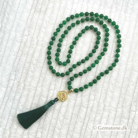 Knotted Mala Necklace 108 Jade Green 8mm stone beads