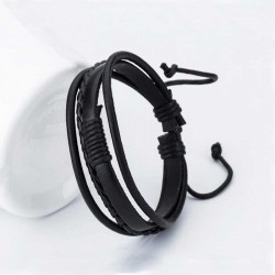 Mens Multilayer Bracelet Braided Leather / Cord