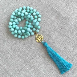 Knotted Mala Necklace 108 Amazonite Blue 8mm stone beads