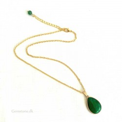 Gold Color Necklace Jade Green Gemstone Pendant