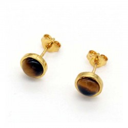 Tiger Eye Stud Earrings Gold Plated 6mm Natural Stone