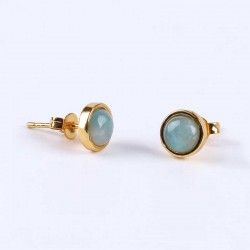 Amazonite Stud Earrings Gold Plated 6mm Natural Stone