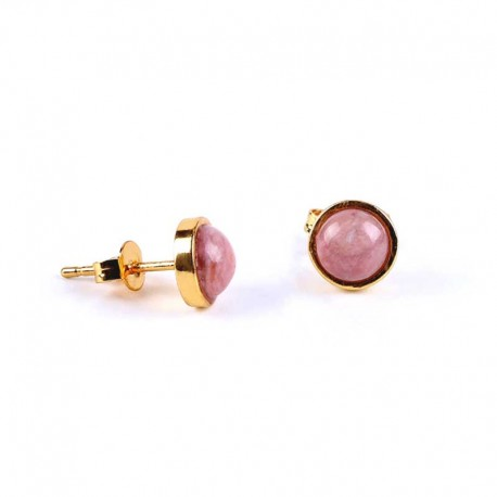 Rhodonite Stud Earrings Gold Plated 6mm Natural Stone