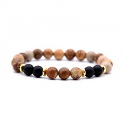Bracelet Picture Jasper / Onyx Gemstone 8mm