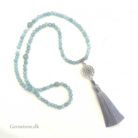 Mala Necklace Aquamarine 108 Gemstone Beads