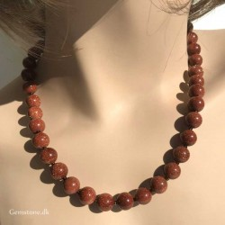Goldstone Necklace 10mm Gold Sandstone Beads