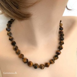 Tigerøje halskæde 10mm facetperler Natural Tiger Eye