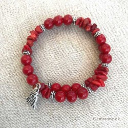 Coral Bracelet Memory Wire Natural Red Sea Coral