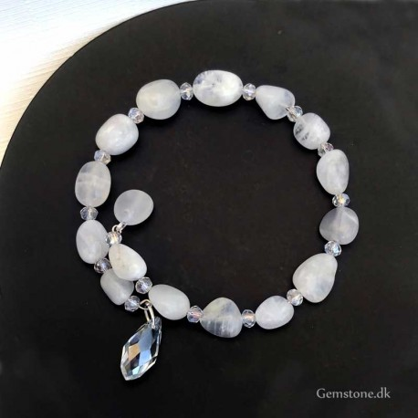 Moonstone Bracelet Memory Wire Natural Stone