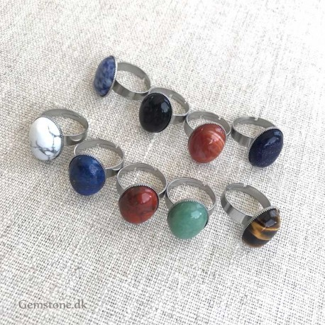 Ring Oval Natural Stone / Stainless Steel Adjustable Size