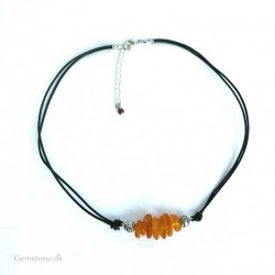 Leather Necklace Amber Jewelry
